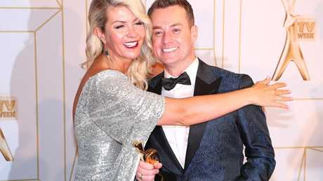 Grant Denyer celebrates with wife Chezzi after winning the Gold Logie. Picture: Chris Hyde/Getty Images