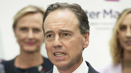 Health Minister Greg Hunt at the Peter MacCallum Cancer Centre in Melbourne. Picture: AAP/Ellen Smith