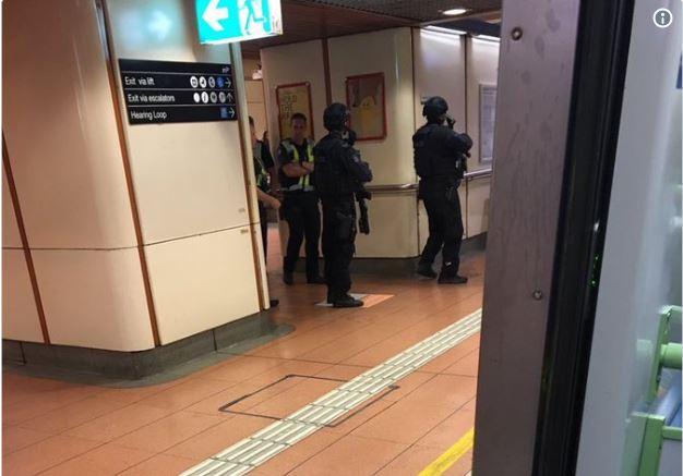 Police swarm Flagstaff station  Image: Twitter