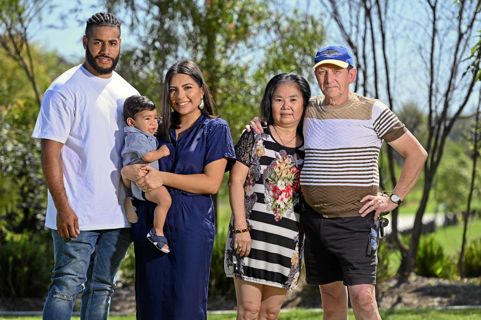 Aaron and Francisca Nemani with their 9 month old son Zion alongside Xiallei Wang and Stephen Threlfall at Providence in Ripley.