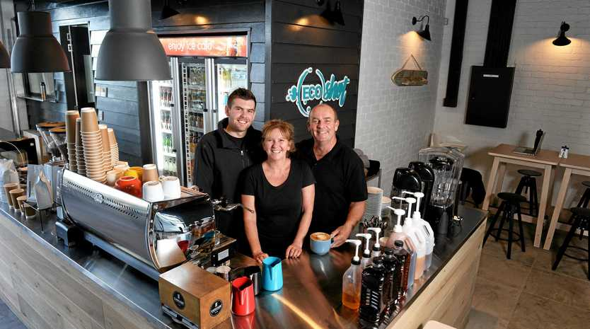 QUIET: Jason Ralph, Lindy Ralph and Nick Harris hope growth will bring more people to their Eco Shot Cafe.