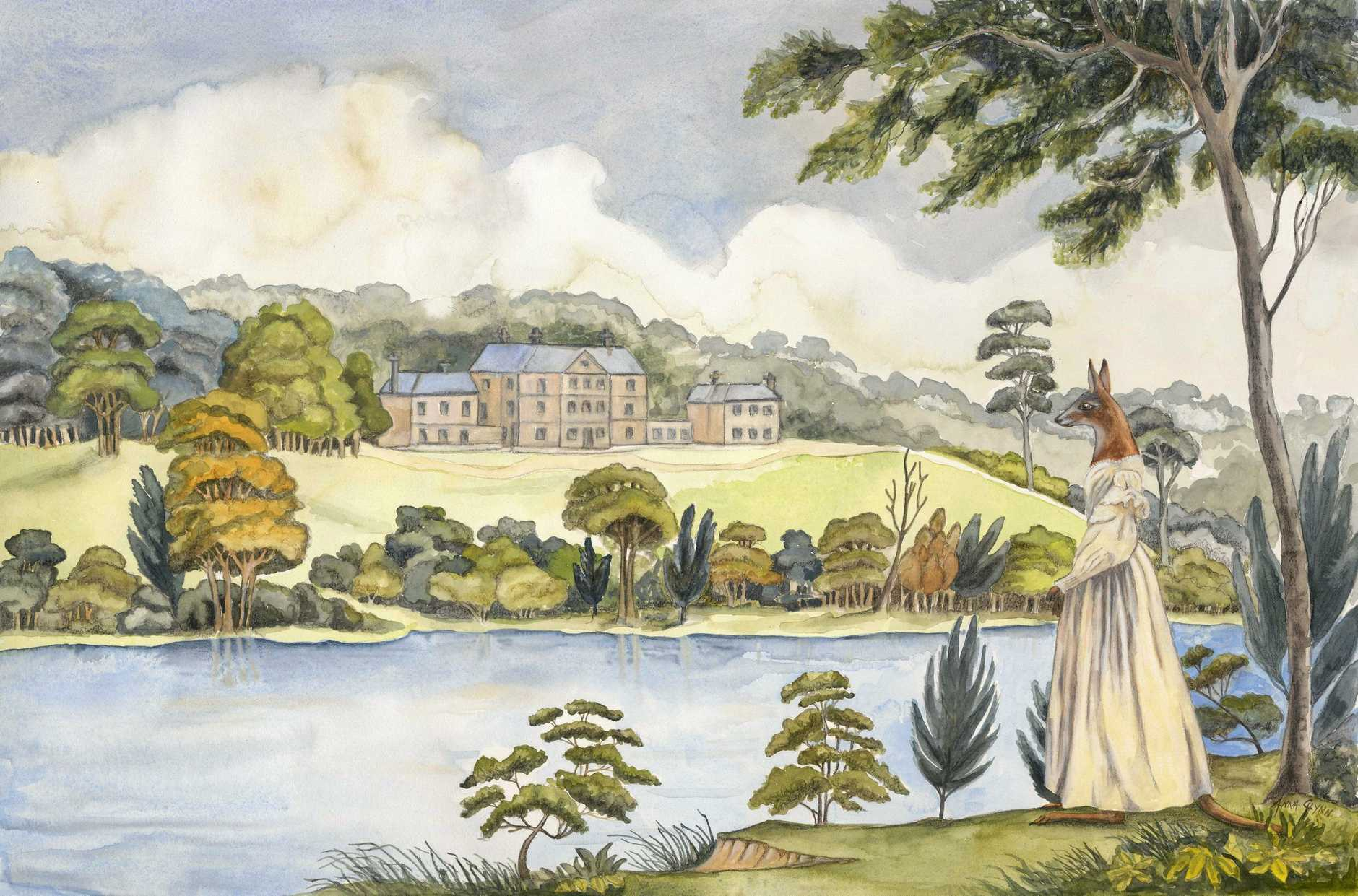 Anna Glynn's 2017 work Colonial Hybrid Reimagined from Joseph Lycett - View of the Female Orphan School, near Parramatta, 1824.