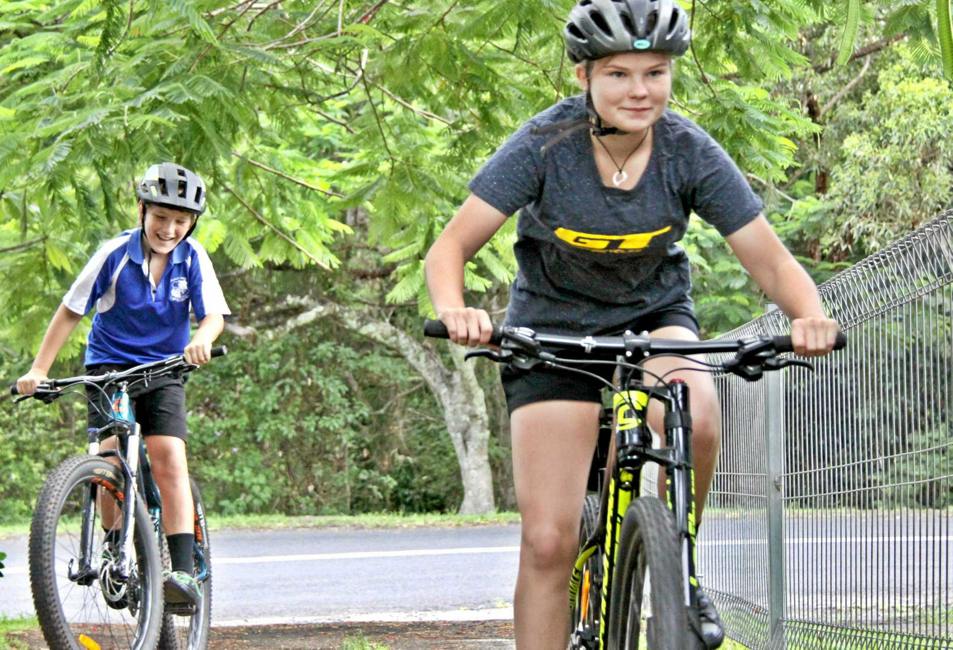 FREE BIKE SKILLS: Alex, 10, and Gemma, 13, are looking forward to joining in one of the three free Aboriginal Bikes Safety Courses which are open to all children and will be held at Casino, Coraki and Tabulam over the April School Holidays.
