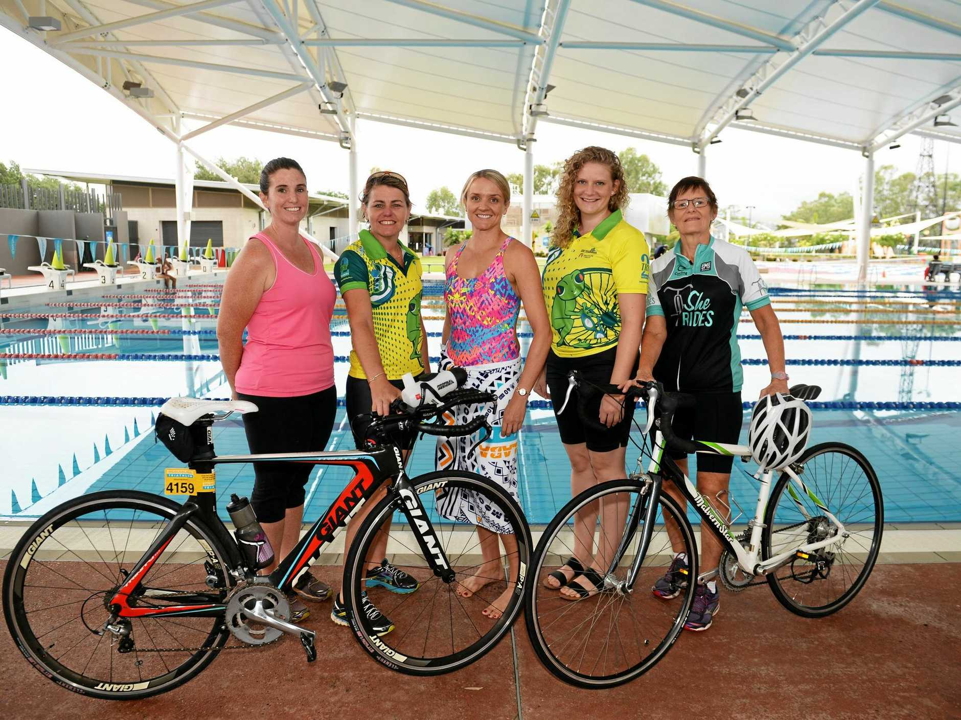 SWIM, RIDE, RUN: Jade Campbell, Veronica Mills, Kirrily Stewart, Kristina Sand and Karen Arnold will compete in the Fitzroy Frogs women's only triathlon in Rockhampton on Sunday.