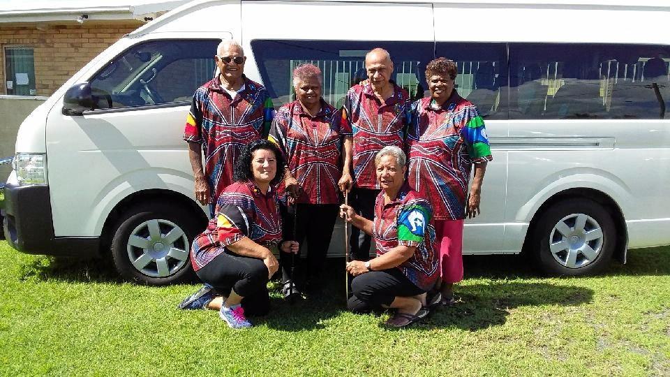 Binga Birry Justice Group elders, back, Uncle Paul Rakaiki, Aunty Veronica Griffin, Uncle Ray Bobongie, Aunty Brenda Vegi and front, Aunty Deb Netuschil and Aunty Janice Binsiar.
