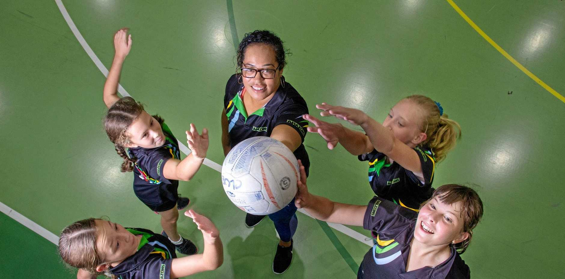 NEW HEIGHTS: Fernvale Amazon Netballers Olivia McLean, Annabelle Callaghan, Norma Armstrong-Ravula, Claire Ivanovic and Samantha Bremner.
