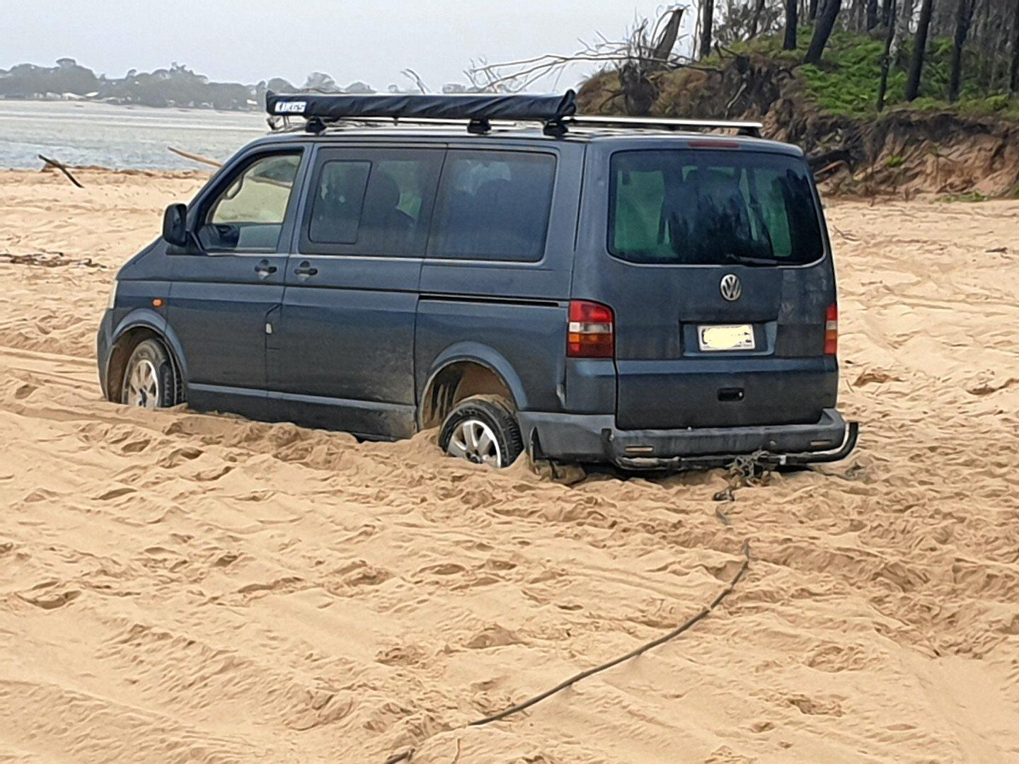 The V-Dub stuck at Teewah Beach, requiring assistance from Clayton's Towing.