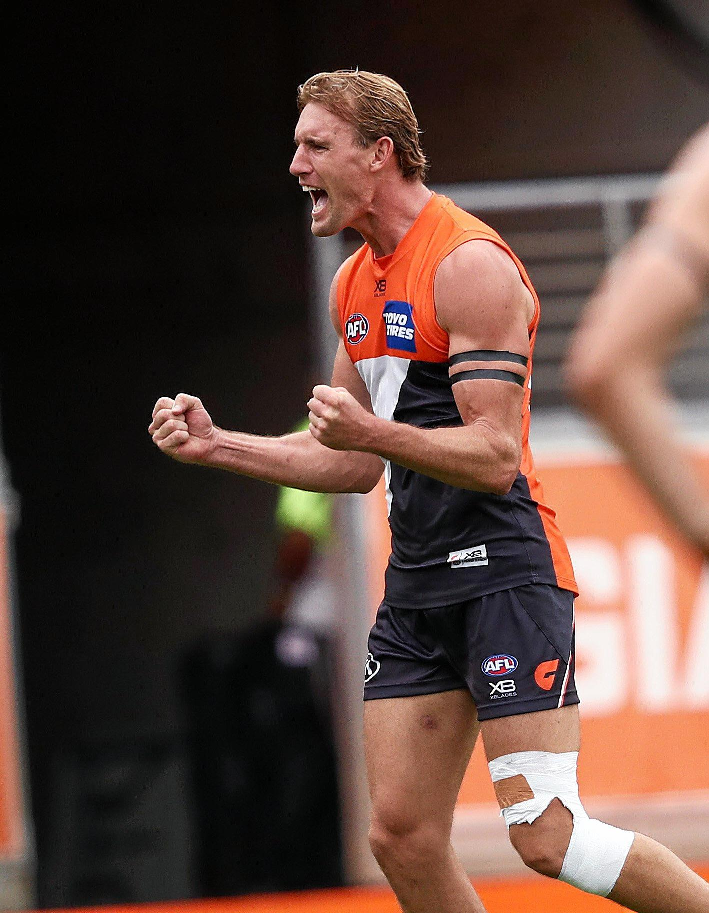 Lachlan Keeffe celebrates after kicking a goal against the Bombers. Picture. Phil Hillyard