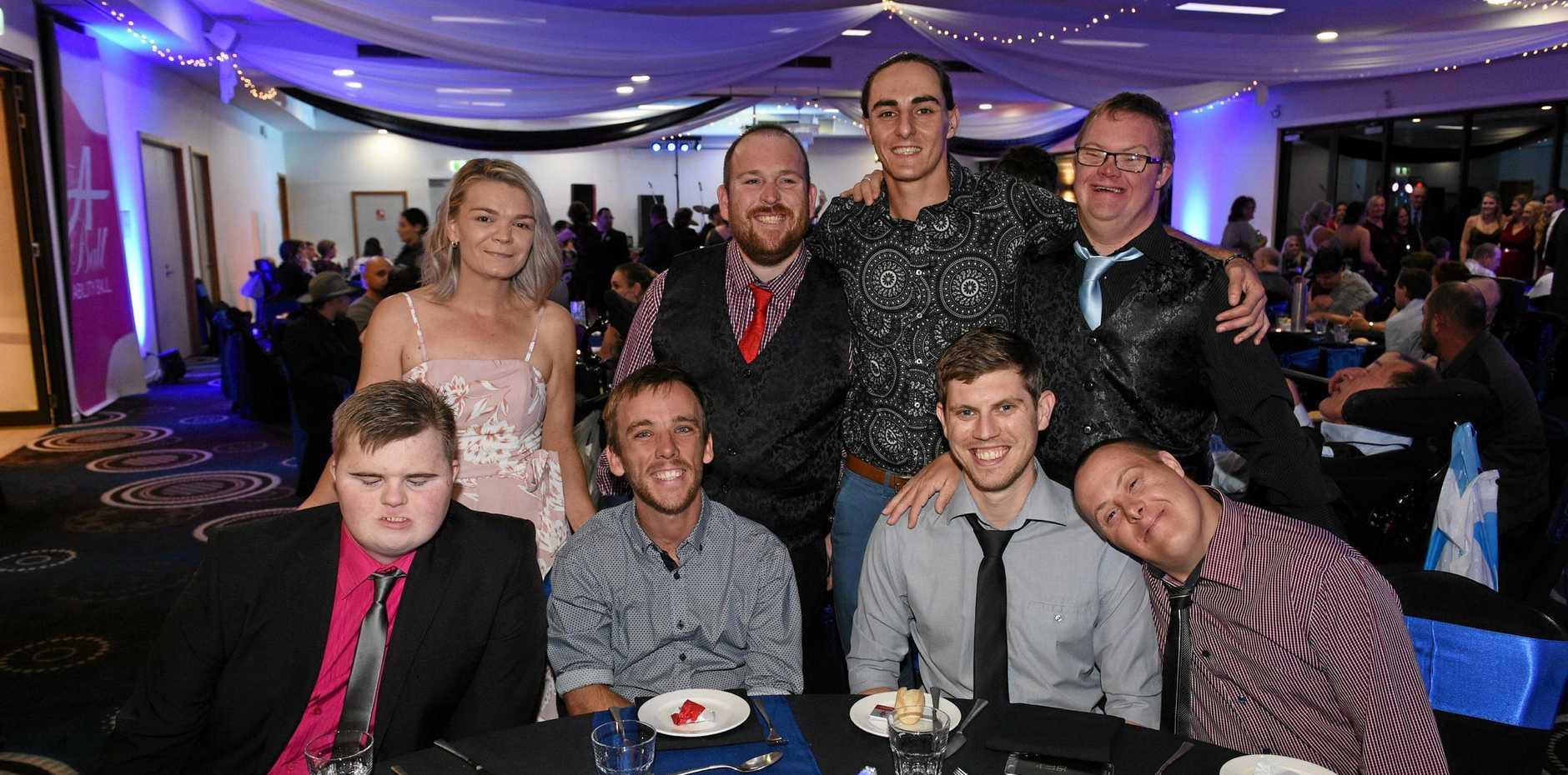 HAVING A BLAST: Josh Zerk, Aaron Groat, Daniel Hayhurst and Todd Malcolm. (Back left) Leah Kingdom, Todd Kirk, Clayton Killick and Daniel Blackhurst at last year's Fraser Coast Ability Ball.