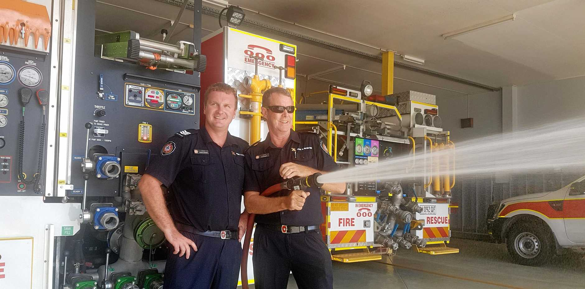 Bowen firefighters Ian Patchett and Andrew McShane are cautioning local residents to remain vigilant this grass fire season.