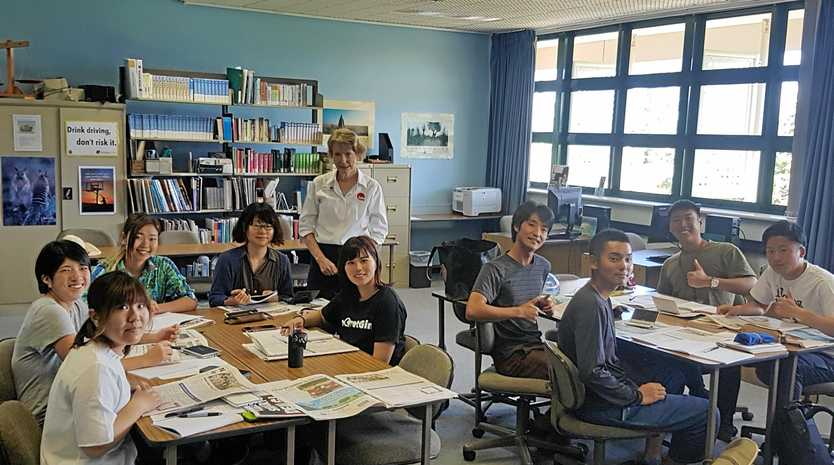 CLASS IN SESSION: Nine students from Japan have started a one-month language course in English at Bowen TAFE.