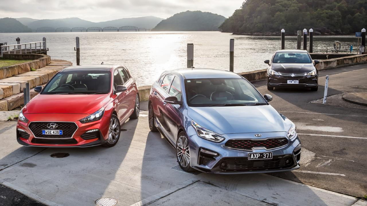 Hyundai i30 N-Line, Kia Cerato GT and Holden Astra SV-R. Photo: Thomas Wielecki.