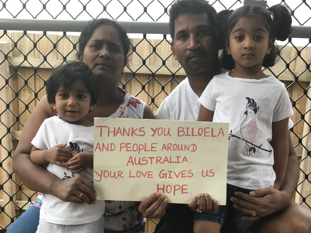 Tamil asylum seekers Nades with wife Priya and their Queensland-born daughters Tharunicaa and Kopika.