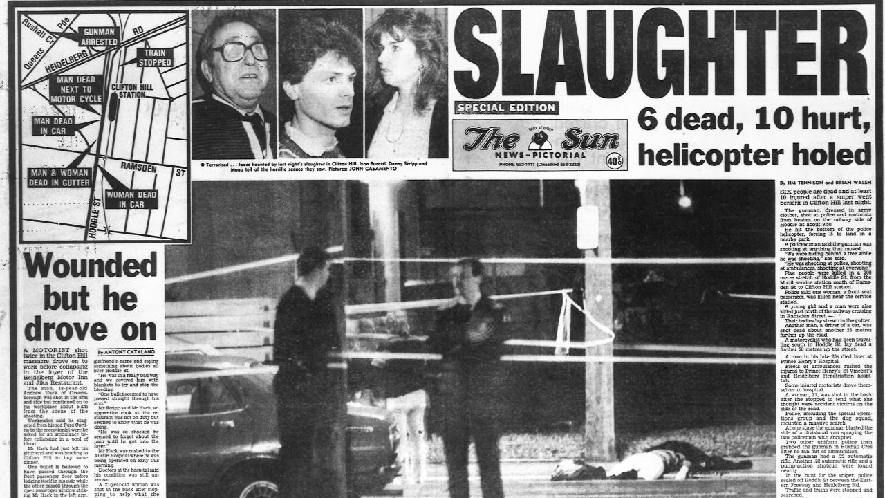 Report about the Hoddle St massacre in The Sun newspaper.
