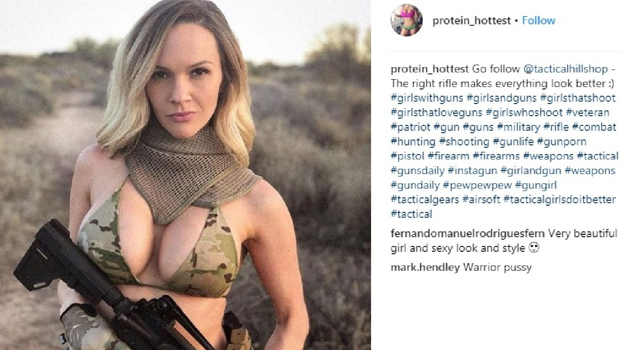 Millenials are posing with weapons on social media using the #tactical hashtag. Picture: Instagram @protein_hottest