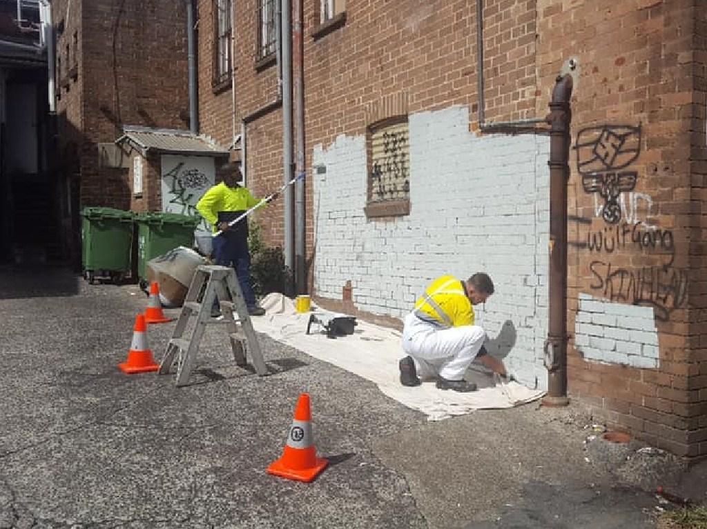The neo-Nazi graffiti was eventually removed by Parramatta Council.