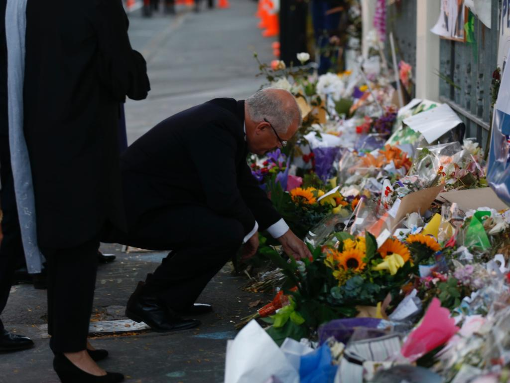 Scott Morrison pays tribute outside the Christchurch Al-Noor mosque. Picture: AAP/New Zealand Herald Pool/Dean Purcell