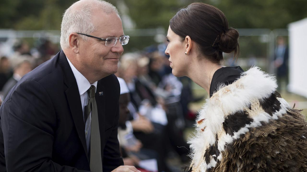 The two Prime Ministers greet one another on Friday. Picture: Mark Tantrum/AP