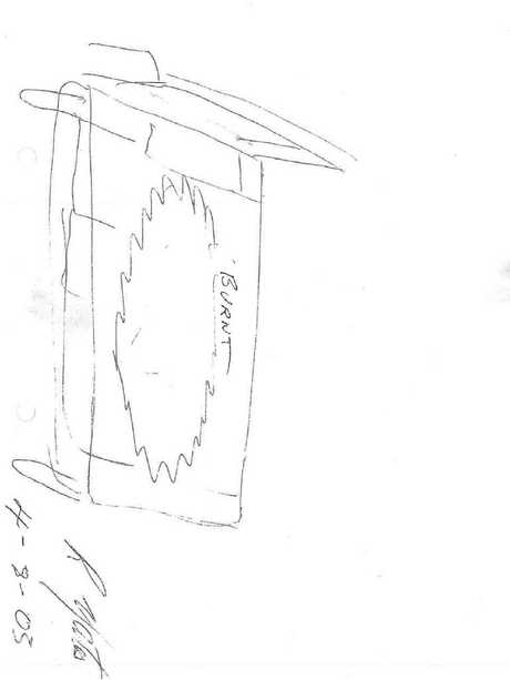 A witness drawing of the bed that Lorna Pholi burnt while Bradford was sleeping.