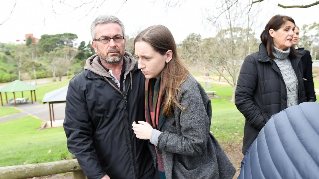 Borce Ristevski's daughter Sarah has never left her father's side. Picture: Tracey Nearmy/AAP