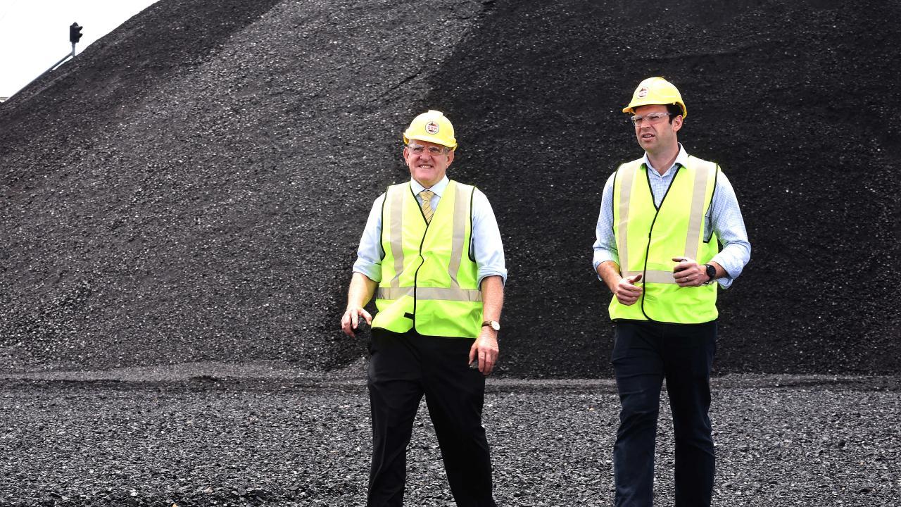 QRC chief executive Ian Macfarlane and Resources Minister Matt Canavan enjoying a sea of coal at the Port of Brisbane.