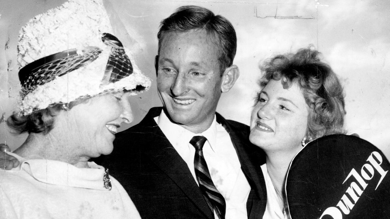 Rod Laver in 1961 with his mother and sister at Brisbane Airport.