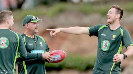 Former Australia coach Darren Lehmann (L) would pick James Pattinson for the Ashes. Picture: Mark Cranitch.