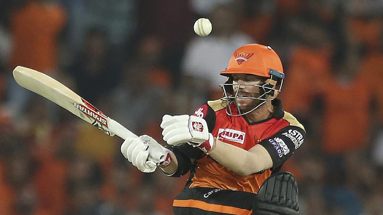 Sunrisers Hyderabad's David Warner plays a shot during the VIVO IPL T20 cricket match between Sunrisers Hyderabad and Rajasthan Royals in Hyderabad, India, Friday, March 29, 2019. (AP Photo/ Mahesh Kumar A.)