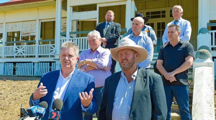 PLANS: Dan Daly and Leo Neill-Ballantine at the Euroa Homestead Aldoga, announcing plans for a $260 million beef processing plant.