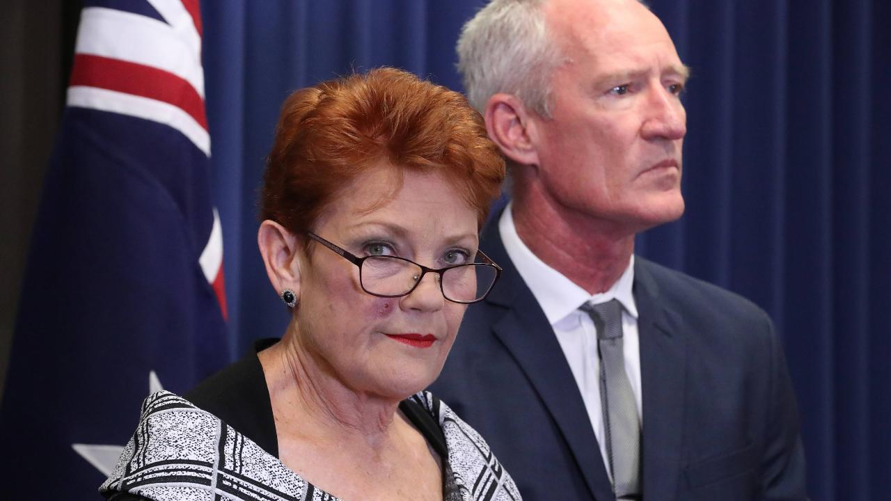 Senator Pauline Hanson holds a press conference after the Al Jazeera secret recording scandal. Picture: Liam Kidston