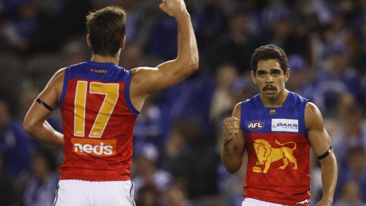Charlie Cameron celebrates a goal during Brisbane Lions victory over North Melbourne. Picture: Daniel Pockett.