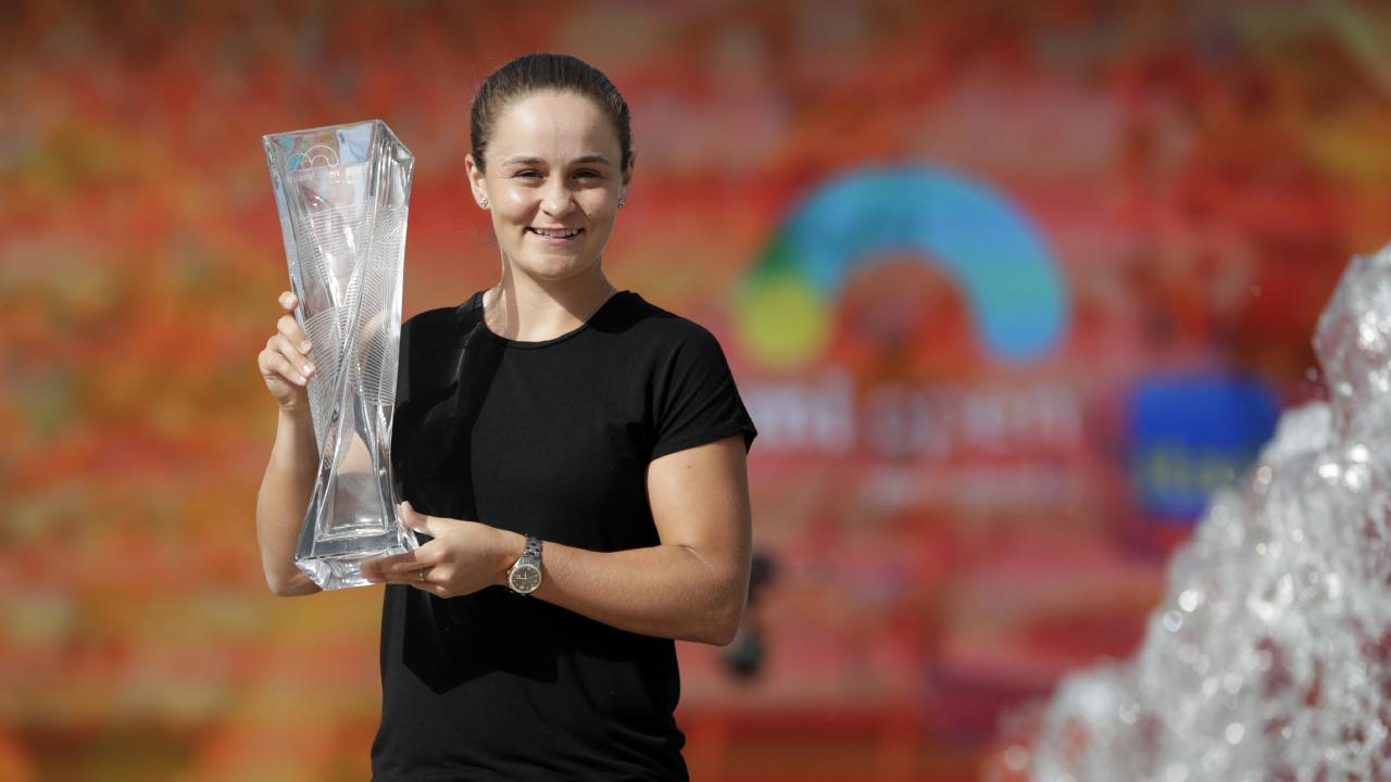 Barty with the Miami Open trophy. Picture: AP
