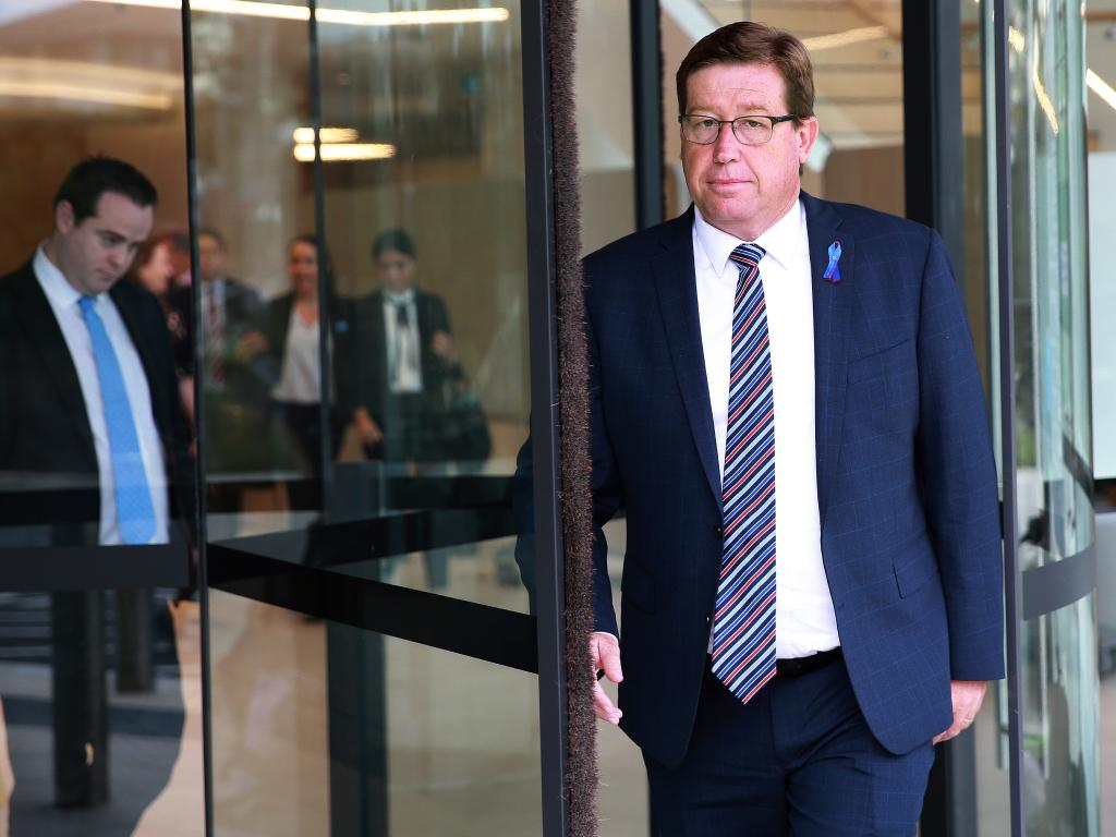 Former Police Minister Troy Grant leaves Lidcombe Coroners Court during the inquest this week. Picture: Toby Zerna