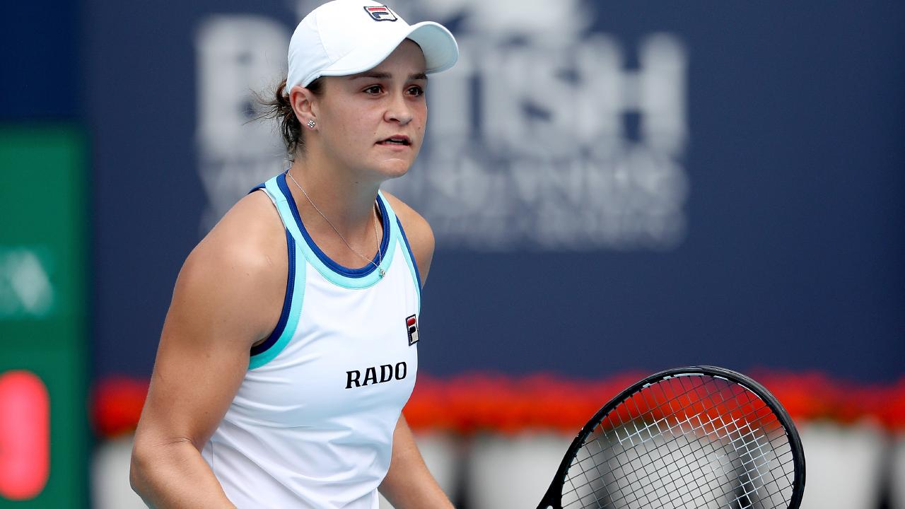 Ash Barty makes history in Miami. Picture: Getty