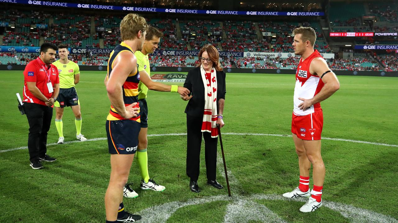 Sydney Swans ambassador Cynthia Banham tosses the coin during the round two AFL match between the Sydney Swans and the Adelaide Crows at the SCG on Friday night. Picture: Cameron Spencer/AFL Media/Getty Images