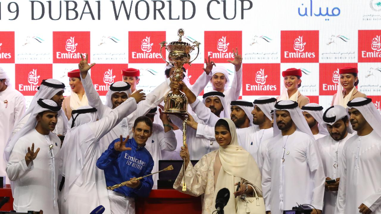 Christophe Soumillon, jockey of Thunder Snow celebrates winning the Dubai World Cup sponsored by Emirates Airline. Picture: Francois Nel/Getty Images