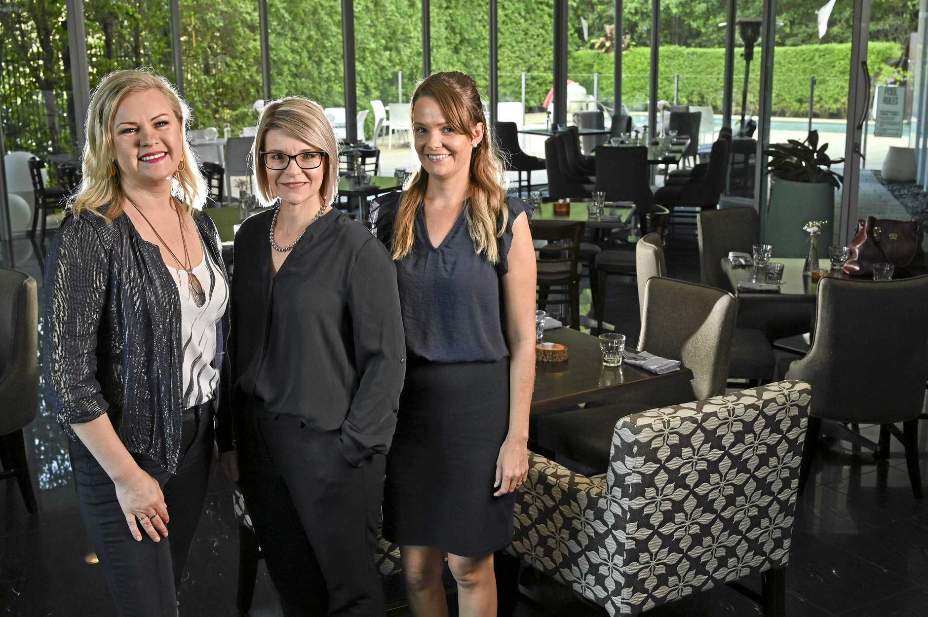 SUPPORTING EACH OTHER: Sirle Adamson, of BLVD Restaurant, Sara Vaines, of Springfield Lakes Hotel and Mel Freiberg, of Dark Horse Coffee.