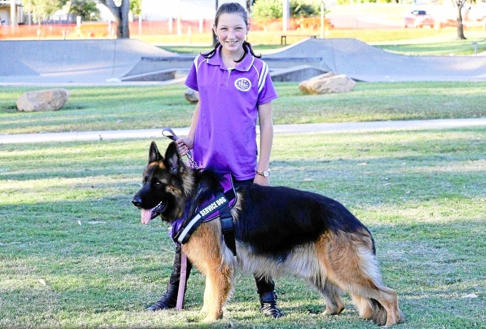 POPULAR PUP: CCRDFV youth member Kianne Harris is Tak's trainer. The German shepherd is the ambassador for Pets in Crisis and will be at the Million Paws Walk event in May.