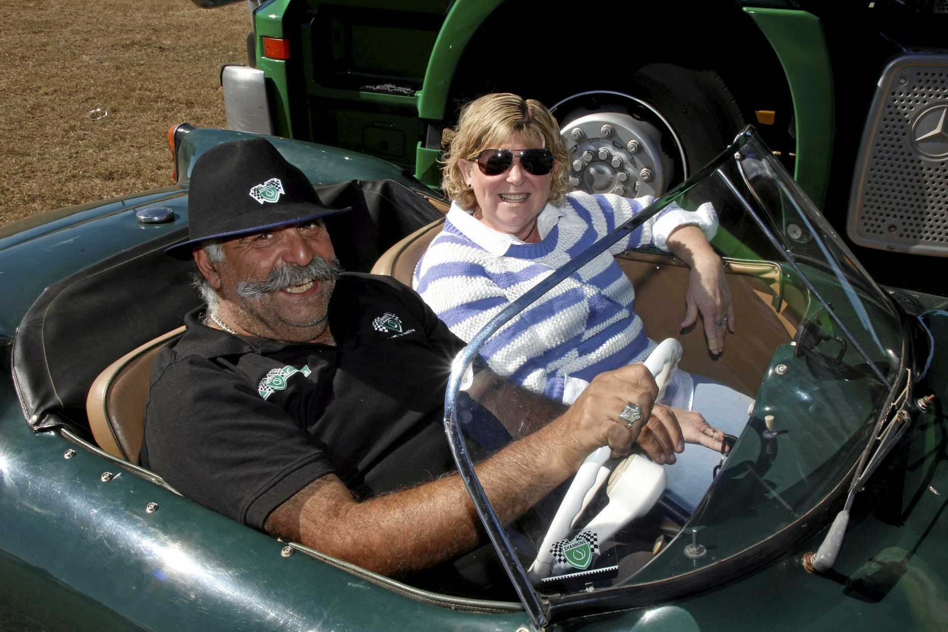 Nick Hassapas takes Carole Mansfield for a spin in his 1959 Goggomobil Dart at Chrome and Clutter at the Laidley Showgrounds, June 23, 2018.