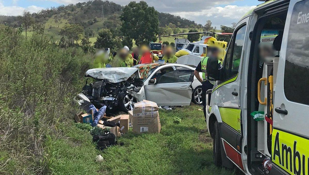 LUCKY TO BE ALIVE: A woman in her 70s was airlifted to Sunshine Coast University Hospital after a truck and car collided on the Wide Bay Highway near Woolooga just after midday.