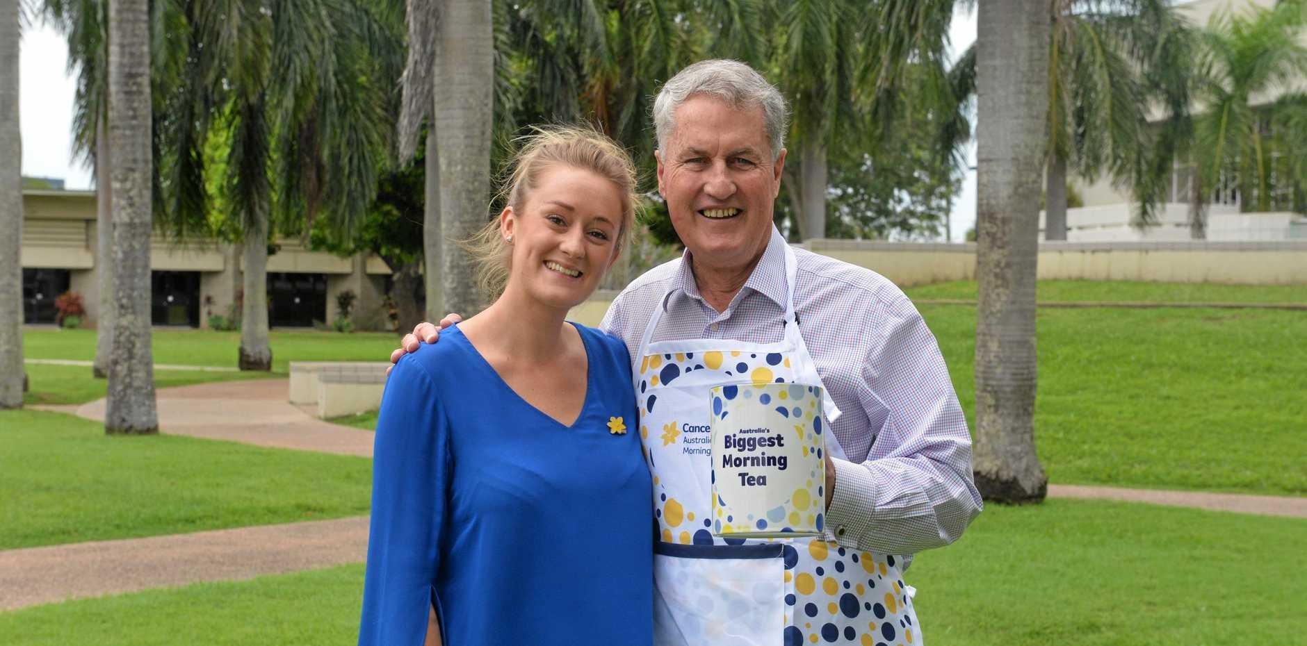 BIG SIP: Mayor Greg Williamson and Tina Holliday-Smith welcome the 'biggest' mug ready for Australia's Biggest Morning Tea.
