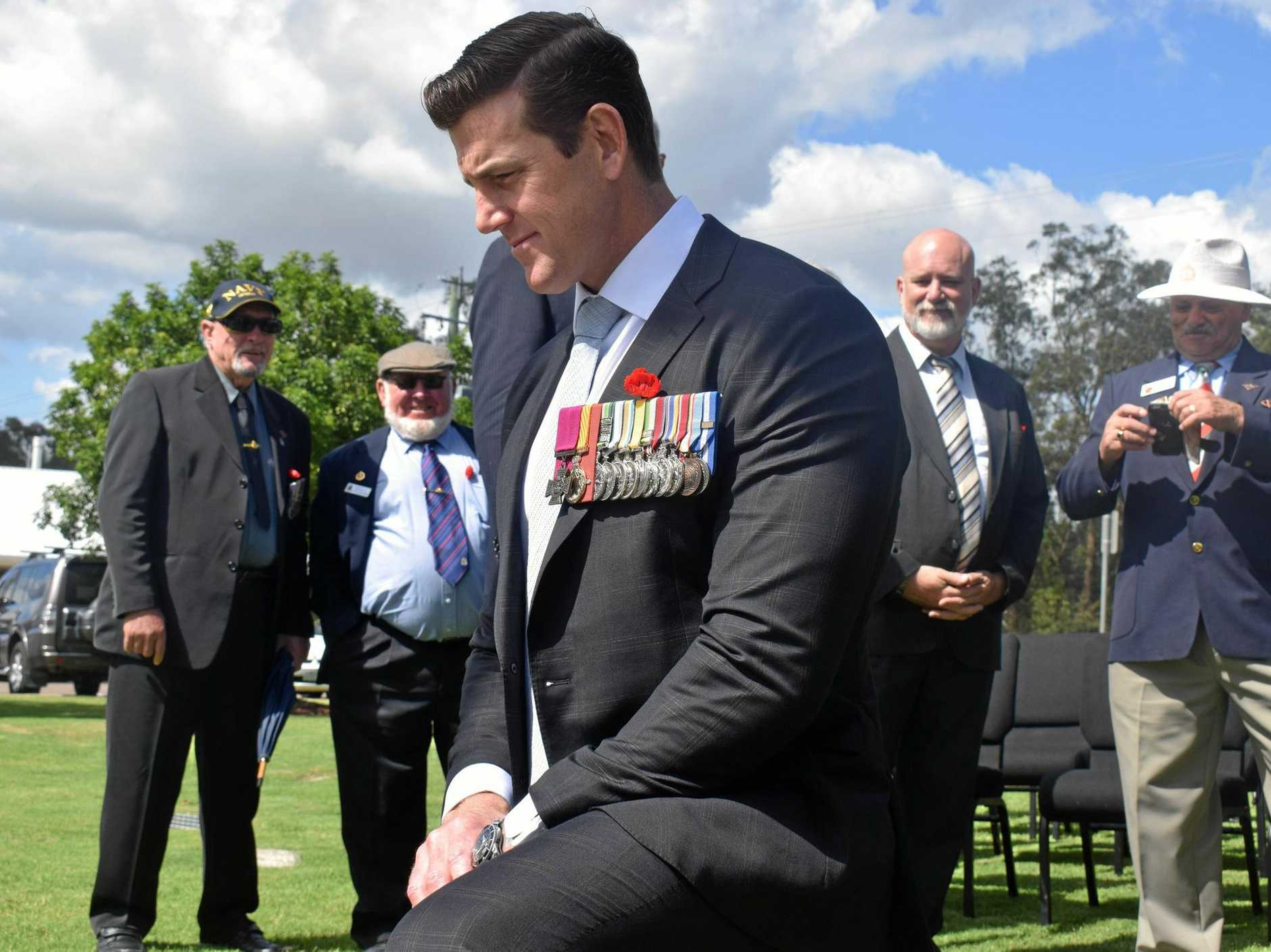 STATUE UNVEILED: Ben Roberts-Smith at Victory College yesterday where he unveiled the school's new Anzac statue.