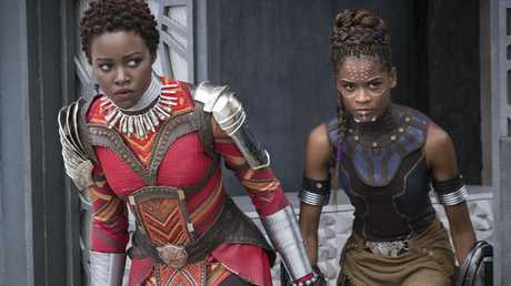 Kicking serious butt as Nakia in Black Panther, alongside Letitia Wright. Picture: Matt Kennedy/Marvel Studios