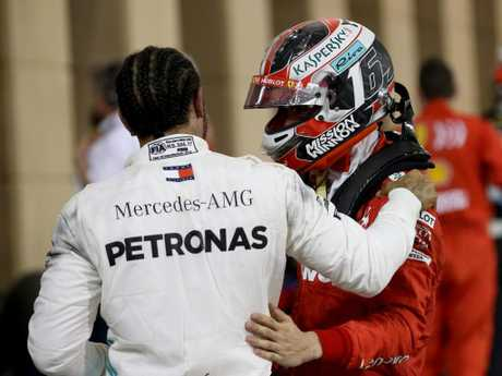 Lewis Hamilton and Charles Leclerc. (Photo by Charles Coates/Getty Images)