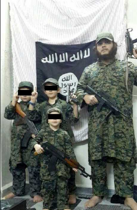 Barefoot, giving the IS salute. Khaled Sharrouf with Zarqawi, Abdullah and Humzeh.
