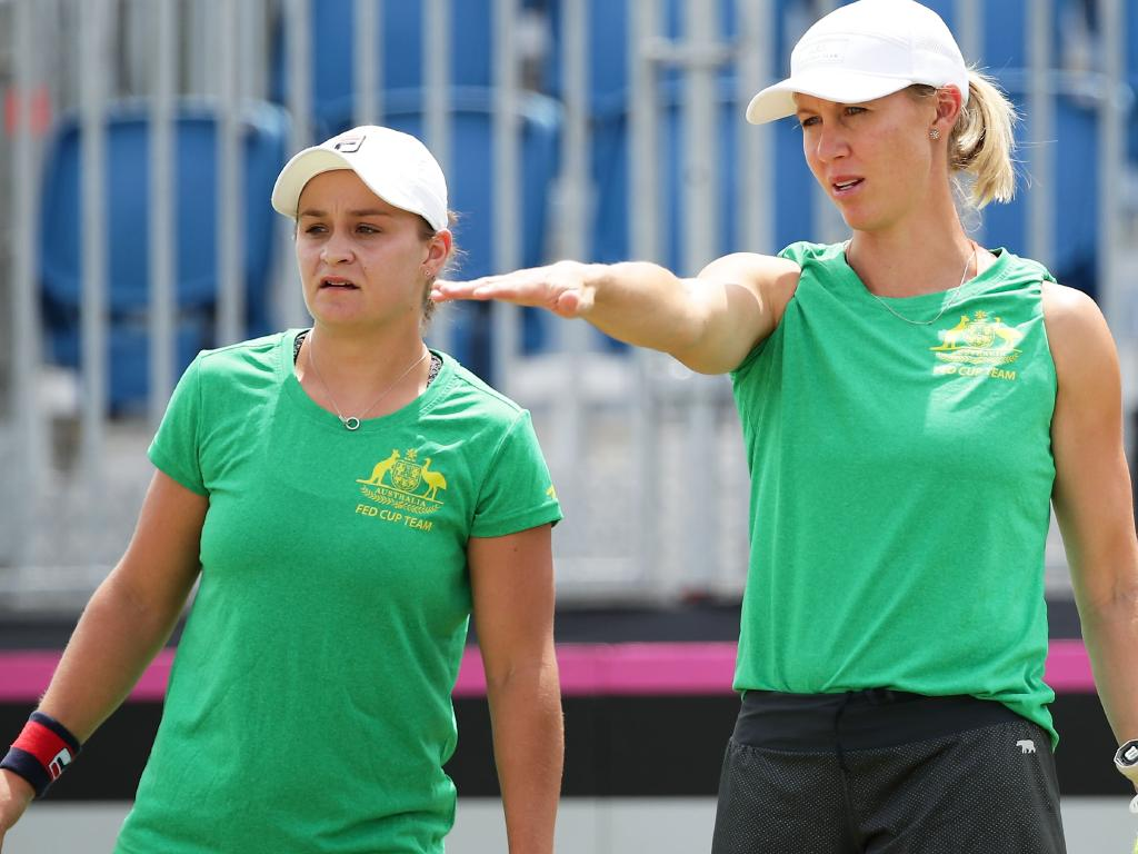 Ash Barty with Fed Cup captain Alicia Molik at practice.