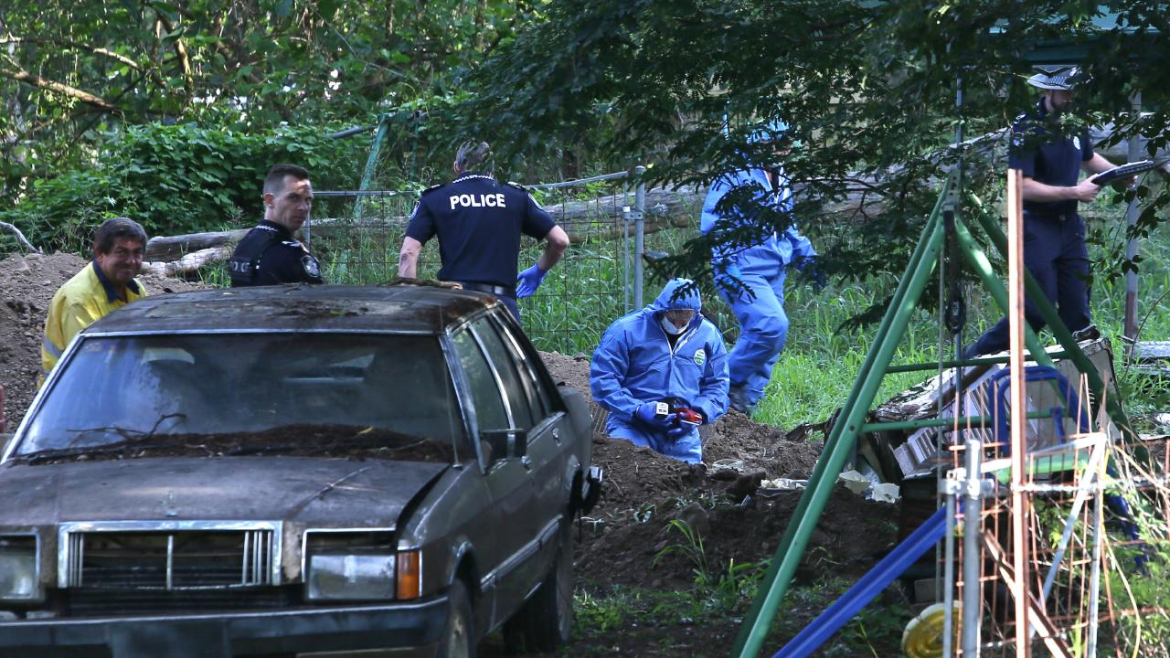 Police forensic officers remain at the scene at scene on Monday night. Picture: AAP/Richard Waugh