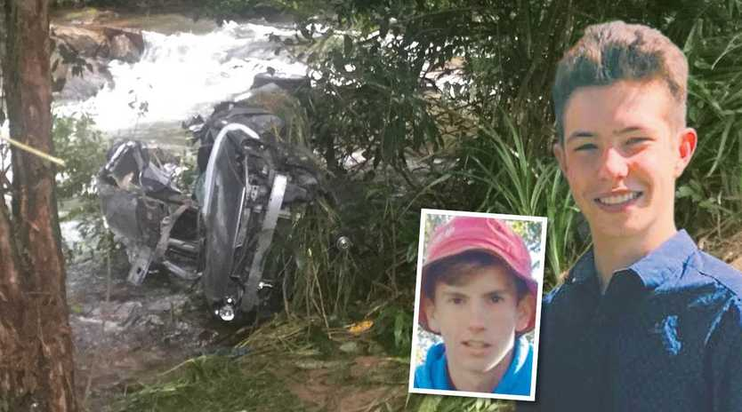 The accident in which Braydan Carter Mathews, inset right, and Ryan Beckman, inset left, lost their lives along with friend Shawn Woods.
