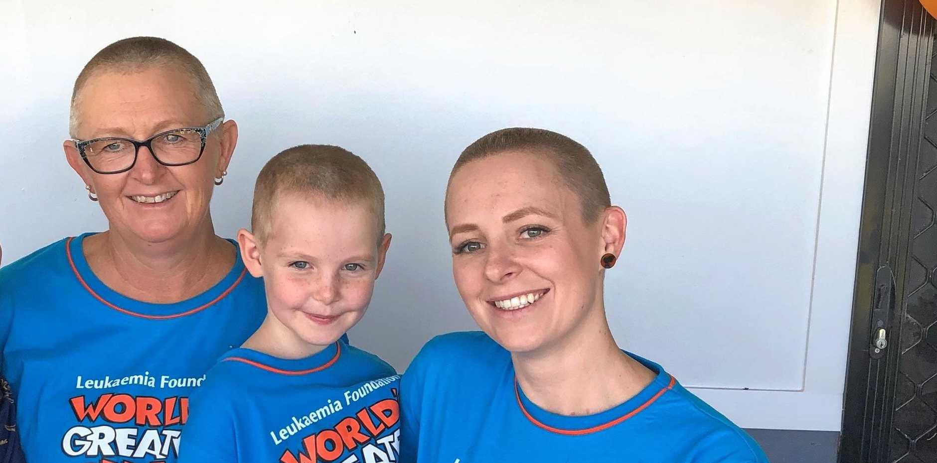 FAMILY EFFORT: Janet Scanlan, Evelyn Morris and Avril Morris shaved their heads for cancer.