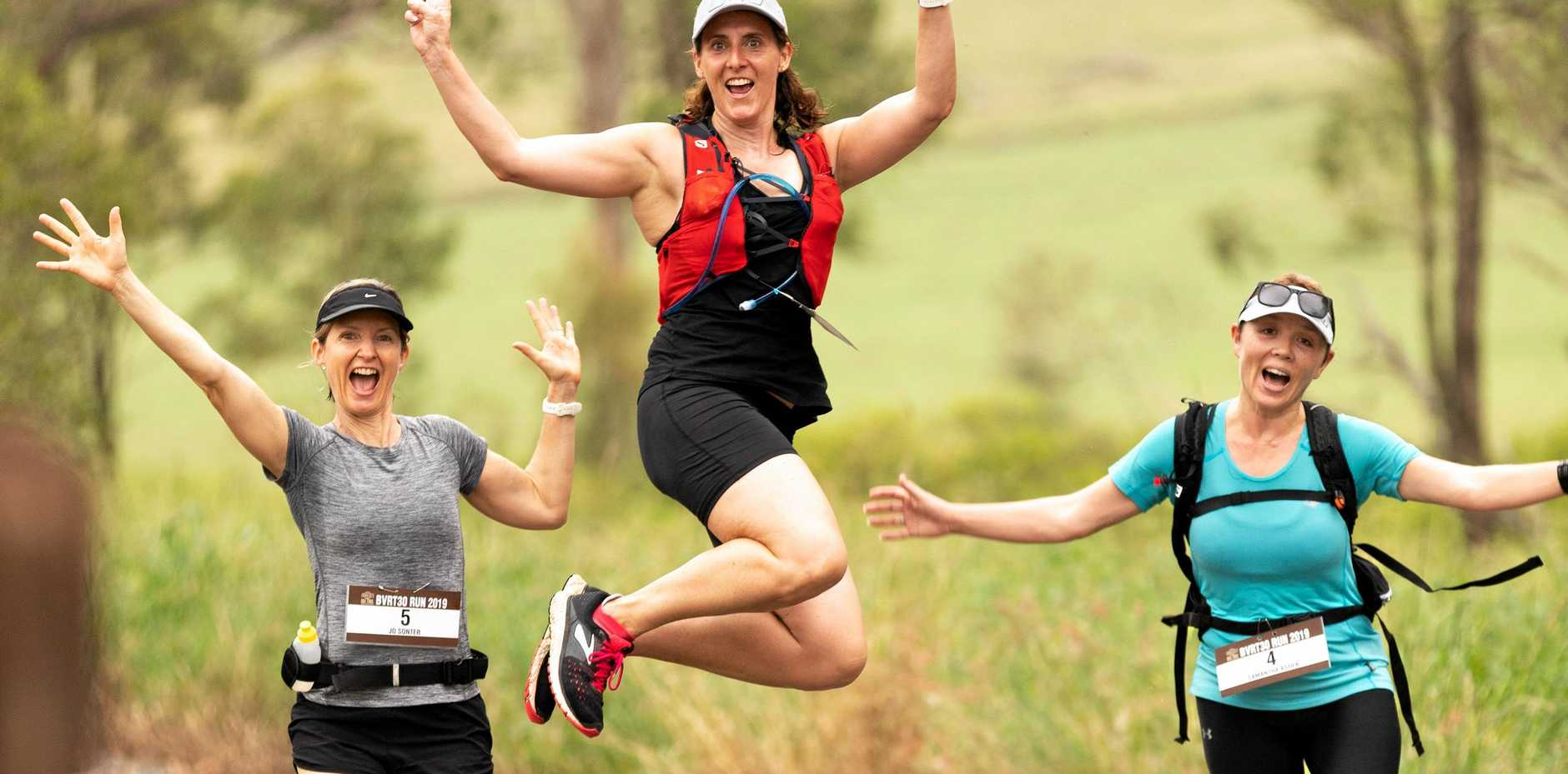 JUMP FOR JOY: More than 100 runners took part in the BVRT 30 Charity Run.